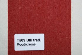 Blokstreep T509 Rood/Créme Zonneschermdoek
